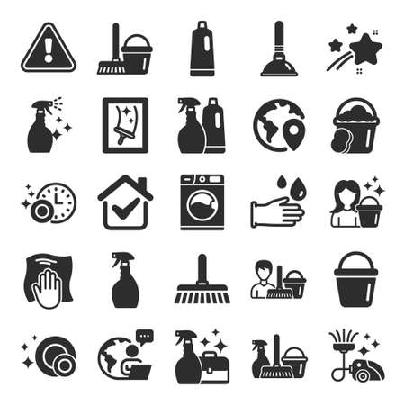 Cleaning icons. Laundry, Sponge and Vacuum cleaner signs. Washing machine, Housekeeping service and Maid equipment symbols. Window cleaning and Wipe off. Flat icon set. Vector