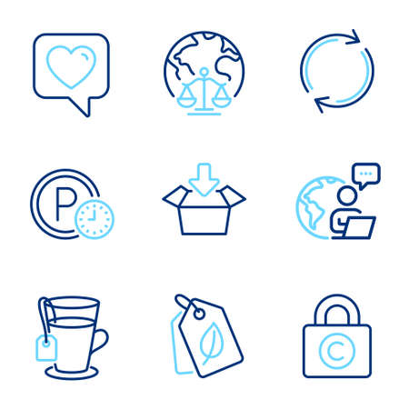 Line icons set. Included icon as Full rotation, Magistrates court, Copyright locker signs. Parking time, Tea, Get box symbols. Heart, Bio tags line icons. Line icons set. Vector