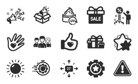 Megaphone box, Seo timer and Holiday presents icons simple set. Discount, Like hand and Sun energy signs. Teamwork, Sale offer and Settings gear symbols. Flat icons set. Vector