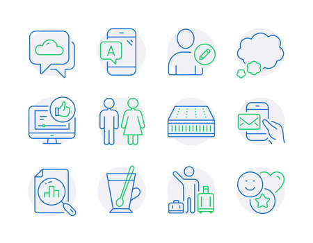 Business icons set. Included icon as Airport transfer, Edit user, Tea mug signs. Mattress, Talk bubble, Ab testing symbols. Messenger mail, Analytics graph, Like video. Weather forecast. Vector Иллюстрация