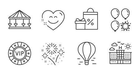 Balloon dart, Fireworks and Smile chat line icons set. Carousels, Shopping and Hotel signs. Vip chip, Air balloon symbols. Attraction park, Pyrotechnic salute, Heart face. Holidays set. Vector