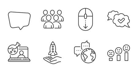 Chat message, Crowdfunding and Customer satisfaction line icons set. Group, Approved and Scroll down signs. Online chemistry, World communication symbols. Quality line icons. Vector