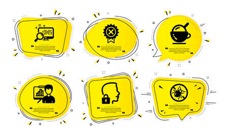 Unlock system, Search and Ice cream icons simple set. Yellow speech bubbles with dotwork effect. Reject medal, Presentation board and Bed bugs signs. Access granted, Find file, Coffee cup. Vector
