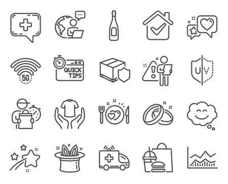 Business icons set. Included icon as Heart, Medical chat, Romantic dinner signs. Trade infochart, Quick tips, Ambulance car symbols. Hat-trick, Hold t-shirt, 5g wifi. Champagne, Smile chat. Vector