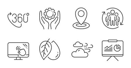 360 degree, Touch screen and Employee hand line icons set. Location, Mineral oil and Teamwork signs. Presentation, Windy weather symbols. Virtual reality, Web support, Work gear. Science set. Vector