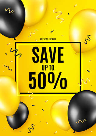Save up to 50%. Balloon celebrate background. Discount Sale offer price sign. Special offer symbol. Birthday balloon background. Celebrate yellow banner. Party frame message. Vector