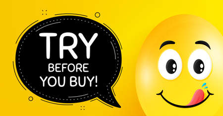 Try before you buy. Easter egg with yummy smile face. Special offer price sign. Advertising discounts symbol. Easter smile character. Try before you buy speech bubble. Vector Vector Illustration