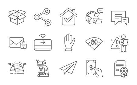 5g wifi, Paper plane and Share line icons set. Microscope, Secure mail and Sports arena signs. Receive money, Open box and Comment symbols. Contactless payment, Reject certificate and Hand. Vector