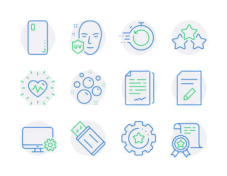 Business icons set. Included icon as Ranking stars, Settings gear, Monitor settings signs. Document signature, Smartphone cover, Fast recovery symbols. Usb flash, Clean bubbles, Heartbeat. Vector