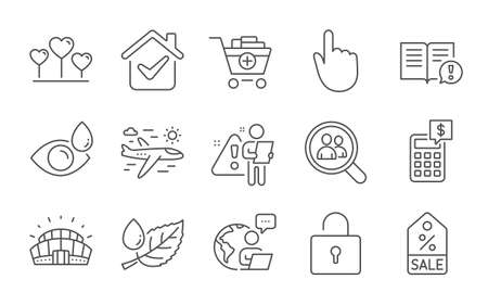 Eye drops, Airplane travel and Leaf dew line icons set. Add products, Sports stadium and Calculator signs. Love heart, Sale coupon and Hand click symbols. Lock, Facts and Search employees. Vector