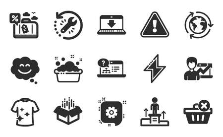 Success business, Recovery tool and Outsourcing icons simple set. Online help, Cogwheel and Business podium signs. Delete purchase, Open box and Hand washing symbols. Flat icons set. Vector
