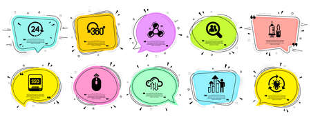 Science icons set. Speech bubble offer banners. Vector coupon badge. Included icon as Search employees, Ssd, Chemistry molecule signs. Cloud sync, Medical vaccination, Idea symbols. Vector