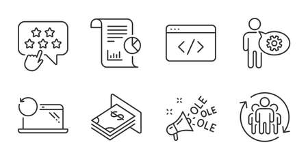 Ranking star, Teamwork and Cogwheel line icons set. Atm money, Report and Recovery laptop signs. Seo script, Ole chant symbols. Click rank, Employees change, Engineering tool. Vector