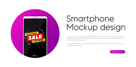 Sale 50% off banner. Phone vector mockup banner. Discount sticker shape. Hot offer icon. Smartphone mockup in circle. Sale 50% banner. Phone screen frame. Mobile background. Vector