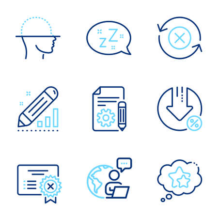 Technology icons set. Included icon as Reject refresh, Sleep, Face scanning signs. Loan percent, Documentation, Reject certificate symbols. Ranking stars, Edit statistics line icons. Vector Ilustración de vector