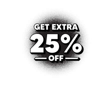 Get Extra 25% off Sale. Dotwork stain pattern. Stipple dots banner. Discount offer price sign. Special offer symbol. Save 25 percentages. Abstract dotted circle. Extra discount banner. Vector