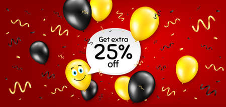 Get Extra 25% off Sale. Balloon confetti vector background. Discount offer price sign. Special offer symbol. Save 25 percentages. Birthday balloon background. Extra discount message. Vector