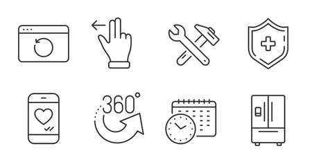 Medical shield, 360 degrees and Refrigerator line icons set. Love chat, Touchscreen gesture and Recovery internet signs. Spanner tool, Calendar time symbols. Quality line icons. Vector