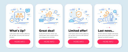 Set of People icons, such as Ranking star, Insurance hand, Analysis graph symbols. Mobile screen app banners. Employee results line icons. Click rank, Full coverage, Targeting chart. Chart. Vector