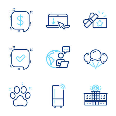Line icons set. Included icon as Ice creams, Loyalty gift, Confirmed signs. Scroll down, Payment message, Refrigerator symbols. Hospital building, Pet friendly line icons. Line icons set. Vector