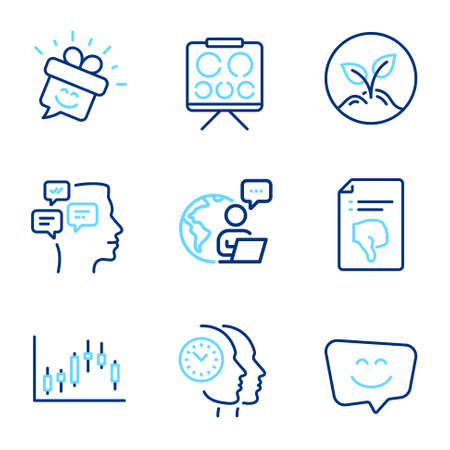Business icons set. Included icon as Startup, Vision board, Candlestick graph signs. Thumb down, Messages, Smile face symbols. Smile, Time management line icons. Launch project, Eye check. Vector