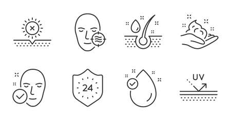 Vitamin e, Skin care and Uv protection line icons set. 24 hours, Problem skin and No sun signs. Serum oil symbol. Oil drop, Hand cream, Protection. Beauty set. Quality line icons. Vector