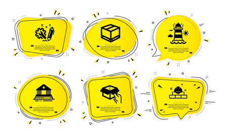 Engineering, Lighthouse and Hold box icons simple set. Yellow speech bubbles with dotwork effect. Delivery box, Court building and Construction bricks signs. Vector