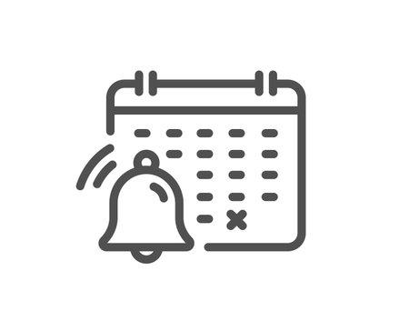 Notification calendar line icon. Bell alarm reminder sign. Alarm clock symbol. Quality design element. Linear style notification calendar icon. Editable stroke. Vector