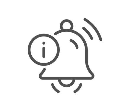 Information bell line icon. Alarm reminder info sign. Notification message symbol. Quality design element. Linear style information bell icon. Editable stroke. Vector