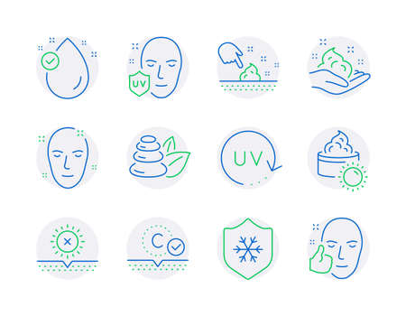 Beauty icons set. Included icon as Collagen skin, No sun, Skin care signs. Sun cream, Spa stones, Vitamin e symbols. Uv protection, Uv protection, Healthy face line icons. Quality line icons. Vector