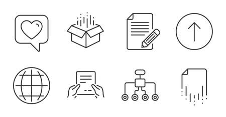 Recovery file, Article and Heart line icons set. Swipe up, Open box and Globe signs. Receive file, Restructuring symbols. Backup document, Feedback, Like rating. Quality line icons. Vector