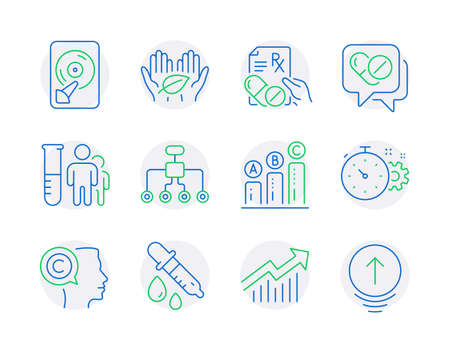 Science icons set. Included icon as Medical analyzes, Graph chart, Restructuring signs. Writer, Medical drugs, Prescription drugs symbols. Demand curve, Cogwheel timer, Hdd. Fair trade. Vector