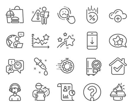 Technology icons set. Included icon as Cloud computing, Scroll down, Ranking stars signs. Megaphone, Certified refrigerator, Star symbols. Report, Time management, Question mark. Dislike. Vector Vektoros illusztráció