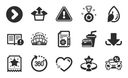 Facts, Documentation and Arena stadium icons simple set. Download, Vip table and Winner reward signs. Hamburger, Heart and Water drop symbols. Loyalty ticket, Forward and 360 degrees. Vector