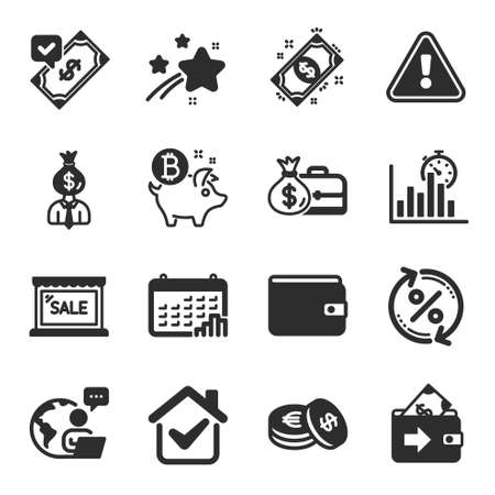 Set of Finance icons, such as Bitcoin coin, Report timer, Manager symbols. Calendar graph, Money wallet, Accepted payment signs. Salary, Sale, Loan percent. Savings, Payment, Wallet. Vector