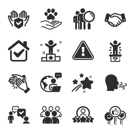 Set of People icons, such as Insurance hand, Clapping hands, Employees handshake symbols. Human rating, Winner podium, Like signs. Consulting business, Group, Breathing exercise. Winner. Vector Vetores