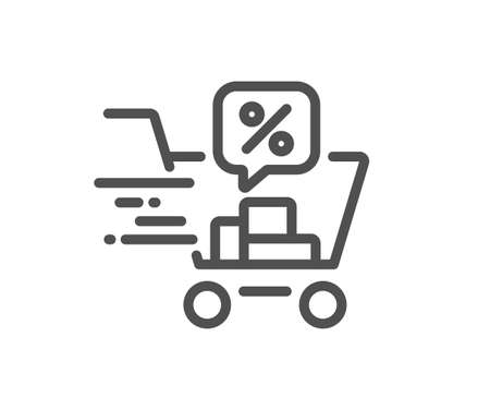 Discounts cart line icon. Sale offer sign. Promotion price symbol. Quality design element. Linear style discounts cart icon. Editable stroke. Vector