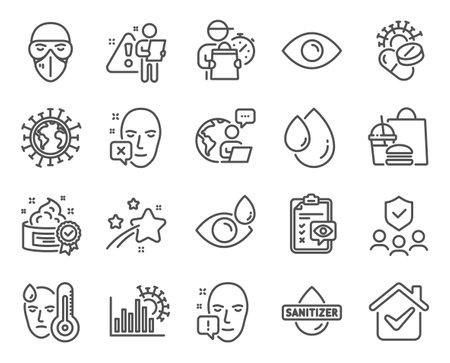 Medical icons set. Included icon as People insurance, Eye checklist, Eye drops signs. Oil drop, Fever, Coronavirus statistics symbols. Medical mask, Cream, Coronavirus pills. Face declined. Vector