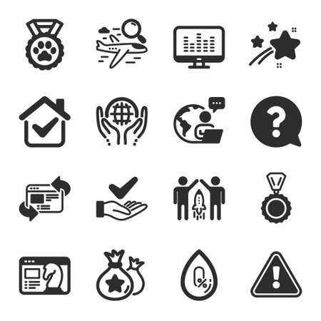 Set of Business icons, such as Seo strategy, Search flight, Partnership symbols. Organic tested, Question mark, No alcohol signs. Music making, Refresh website, Loyalty points. Medal. Vector