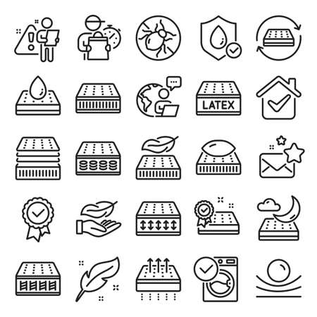 Mattress line icons. Breathable, washable, latex. Memory foam, pillow, bed tick icons. Light weight, natural material, pocket sprung mattress. Bed mite, antiallergic latex. Line icon set. Vector Vektorgrafik