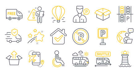 Set of Transportation icons, such as Opened box, Lighthouse, Send box symbols. Air balloon, Parking place, Disabled signs. Bus travel, Free delivery, Flight destination. Shuttle bus. Vector Иллюстрация