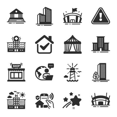 Set of Buildings icons, such as Hospital building, Buildings, Arena symbols. Arena stadium, Lighthouse, Court building signs. Skyscraper buildings, University campus, Circus tent. Shop. Vector Иллюстрация