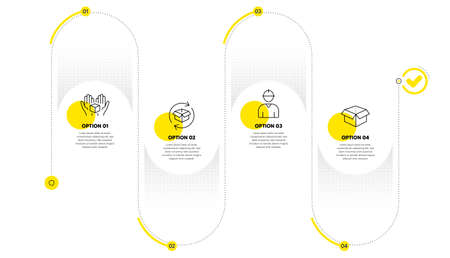 Return parcel, Engineer and Hold box line icons set. Timeline process infograph. Open box sign. Exchange of goods, Worker profile, Delivery parcel. Delivery package. Industrial set. Vector Vettoriali