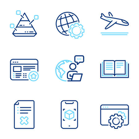 Line icons set. Included icon as Reject file, Augmented reality, Favorite signs. Arrivals plane, Pyramid chart, Globe symbols. Education, Seo gear line icons. Line icons set. Vector