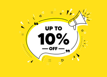 Up to 10% off Sale. Megaphone yellow vector banner. Discount offer price sign. Special offer symbol. Save 10 percentages. Thought speech bubble with quotes. Vector