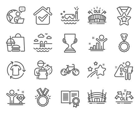 Sports icons set. Included icon as Bicycle, Arena stadium, Scuba diving signs. Award cup, Medal, Honor symbols. Change clothes, Sports arena, Winner ribbon. Winner cup, Diploma, Ole chant. Vector