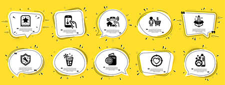 Business icons set. Speech bubble offer banners. Yellow coupon badge. Included icon as Travel passport, Ice maker, Spanner signs. House security, Loyalty ticket, Buyer symbols. Vector