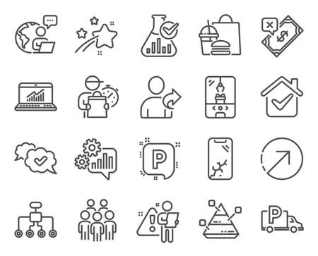 Business icons set. Included icon as Crane claw machine, Pyramid chart, Approved signs. Rejected payment, Online statistics, Cogwheel symbols. Group people, Restructuring, Chemistry lab. Vector Çizim