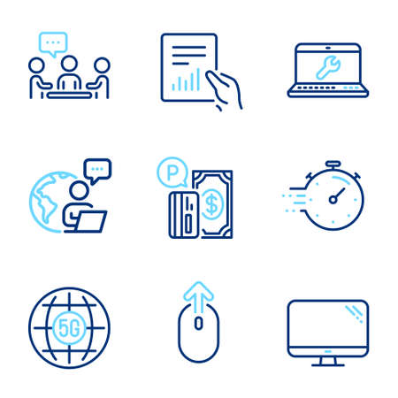 Technology icons set. Included icon as Swipe up, Parking payment, Laptop repair signs. Timer, 5g internet, Document symbols. People chatting, Computer line icons. Scrolling page, Paid garage. Vector