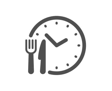 Food time icon. Meal order clock sign. Restaurant opening hours symbol. Quality design element. Flat style food time icon. Editable stroke. Vector